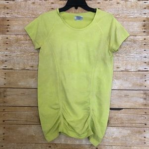 Athleta Yellow-Green Short Sleeve Gathered Top